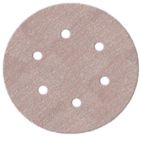 "150mm (6"") 6 hole Aluminium oxide hook and loop back sanding discs. MORE CHOICE! Price per 50 discs."